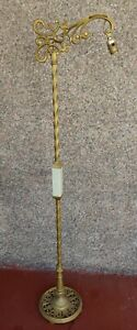 """Antique Art Deco Art Nouveau Bridge Arm Floor Lamp apx 56"""""""