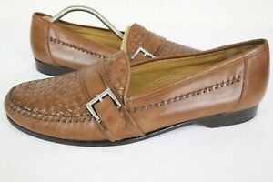 COLE HAAN Woven Mens Brown Leather Weave Moc Loafers Buckle Strap sz 12 M