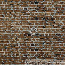 BonEful FABRIC FQ Cotton Quilt Dark Brown Gray BRICK Stone Photography Back*Drop