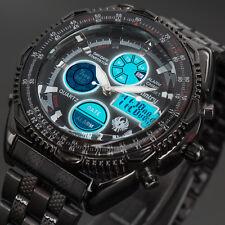 INFANTRY Herren Digital Armbanduhr Sport Militär Chronograph Edelstahl Schwarz