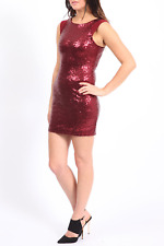 LADIES SEQUIN SLEEVELESS RED/WINE MINI DRESS SIZES 10-14, PARTY, XMAS,COCKTAIL