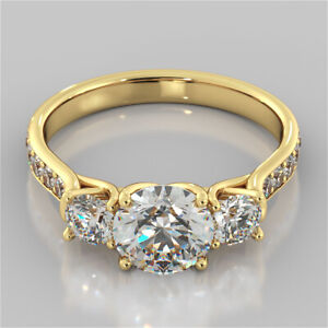 2.40 Ct Round 3 Stone Diamond Engagement Ring 14K Solid Yellow Gold Size N O P Q