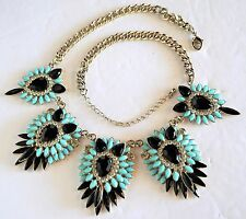 Statement Fashion Necklace ~ Opaque Black & Faux Turquoise Rhinestone on Chain