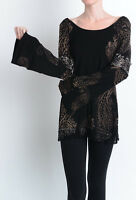 T-PARTY LACE DETAILED BATIK PRINT LONG SLEEVE TOP NWT