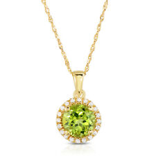10K Yellow Gold Genuine Peridot and White Topaz Pendant with Chain