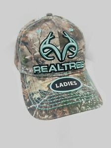 REALTREE EDGE Ladies Camo Adjustable Baseball Cap Hat Teal Logo New With Tags