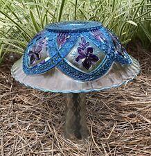 Handpainted Teal Blue & Purple Glass Garden Mushroom Repurposed Yard Decoration