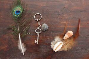 Pretty Handmade Silver Large Key and Grey Stone Agate Heart Charm Keyring