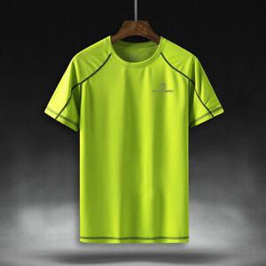 Queshark Men Quick Dry Running  Sport T Shirt Breathable Loose Fitness Tops