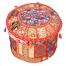 """Indian Round Pouf Cover Patchwork Embroidered Comfy Ottoman Cover Cotton 22"""" Red"""