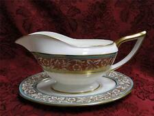 Minton Hanover Flowers on Gold with Turquoise Trim:Gravy Boat with Underplate
