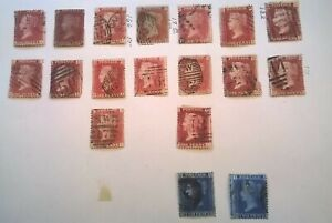 Great Britain 1854-64 QV Page of 1p red brwn & 2p blue *Stars and Corner Letters