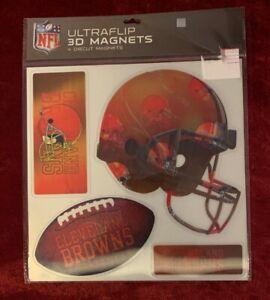 NFL Cleveland Browns 4 Different Diecut Ultraflip 3D Magnets