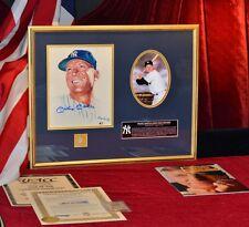 Signed MICKEY MANTLE MLB Autograph, Piece of BAT & UNIFORM, COA, Framed, YANKEES