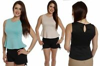 Chic Flirty Keyhole Back Sleeveless PEPLUM Evening Stretch Tank Blouse Shirt Top