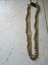 Chains & Faux Pearls Stranded Necklace New With Tags Carolee Gold Tone