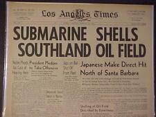 VINTAGE NEWSPAPER HEADLINE ~WORLD WAR 2 JAPANESE JAPAN SUBMARINE ATTACK USA WWII
