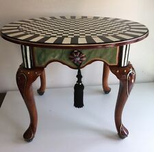 Whimsical Hand Painted Side Table W/ Mackenzie Childs Knobs Checked Striped