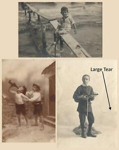 EARLY 1900's 3 x VINTAGE NAUGHTY BOYS POSTCARDS PHOTOS - ALL ONLY FAIR Cond!!!