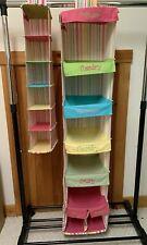 Closet organizer hanging shelves shoes/clothes, pink green yellow