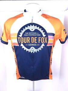 Primal Mens Small Orange Tour De Fox 3/4 Zip Athletic Wear Cycling Jersey