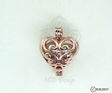 Pick A Pearl Cage Rose Gold Plated Scroll Work Heart Locket Bead Gem CHARM ONLY