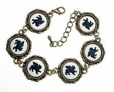 Authentic Wedgwood Cameos on Antique Bronze Bracelet - Winged Lions