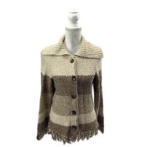 Color Block Turned Down Collar Fringed Cardigan Sweater Button Front Tan Brown S