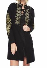 Juicy Couture Melton Embroidered Pitch Black Coat S