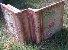 French Art Nouveau Depose Antique two TILE roses majolica bookend bullnose