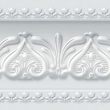 Neutral Gray Wallpaper Border Moulding Effect Design Self Adhesive HT-025