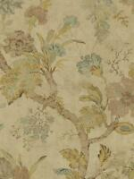 Wallpaper Designer Jacobean Floral in Gold Aqua Tan Brown on Shiny Beige
