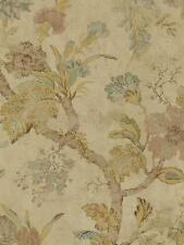 Wallpaperr Designer Jacobean Floral in Gold Aqua Tan Brown on Shiny Beige