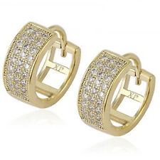9ct Gold Plated Small Clear CZ Crystals Huggie Hoop Earrings Gift  UK Seller 234