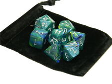 New Chessex Polyhedral Dice with Bag Green Festive 7 Piece Set DnD RPG