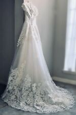 Limited Time Offer!!! David's Bridal Champagne Wedding Dress and Veil | Size 0