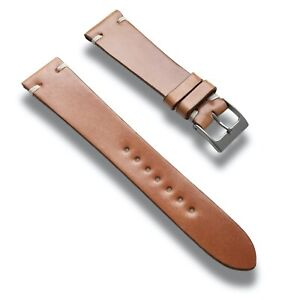 19mm Natural Tan Genuine HORWEEN SHELL CORDOVAN Leather Watch Band Strap Vintage