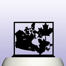 Acrylic Canada Country Map and Maple Leaf Childrens Education Cake Topper