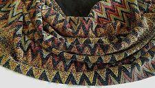 """Vintage Zigzag Stretch Jersey GLITTERY BEADED BLACK YELLOW Fabric  60""""W x 2 YRDS"""