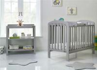 Obaby LILY 2 PIECE NURSERY ROOM SET Cot Bed Changer Warm Grey BN