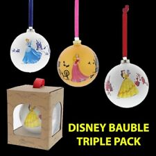 TRIPLE PACK - Official Disney Princess Christmas Bauble Cinderella Aurora Belle