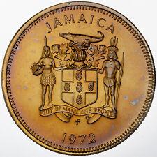 1972 JAMAICA 10 TEN CENTS MATTE GOLDEN TONED COLOR UNC GEM CHOICE BU (DR)