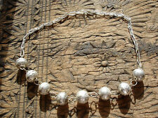 Moroccan tarnished shiny round metal bead necklace