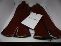 PAUL SMITH LADIES TAN LEATHER GLOVES ARTIST STRIPE TRIM SIZE S + L AVAILABLE
