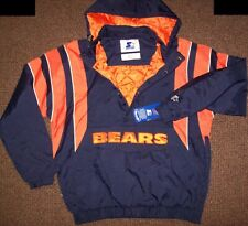 CHICAGO BEARS Starter Hooded Half Zip Pullover Jacket 3X 4X 5X 6X  BLUE