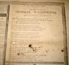 GEORGE WASHINGTON DEATH HISTORICAL ANTIQUE NEWSPAPER / MILITARY / POLITICAL