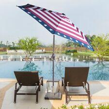 Aluminum Patio Umbrella Garden Market Fabric Auto Tilt Crank USA Striped Flag