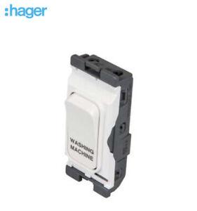 Hager Sollysta Grid Module 20A DP switch white marked Washing Machine WMGSDP2/WM