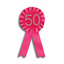 50th Pink Birthday Badge Rosette NEW