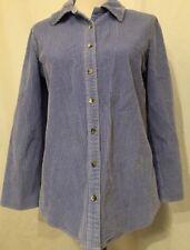 J. Jill Women's Blue Corduroy Long Sleeve Button Down Shirt Tunic Top Blouse XS